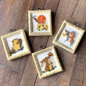 Vintage style boho hand embroidered mini wall art